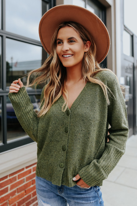 Button Down Olive Flecked Cardigan