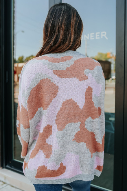 Outranked Pink Camo Sweater