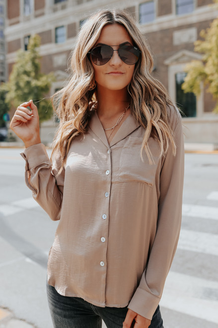 Button Down Satin Pocket Shirt