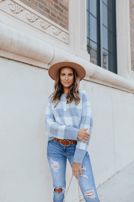 Fable Periwinkle Buffalo Plaid Sweater