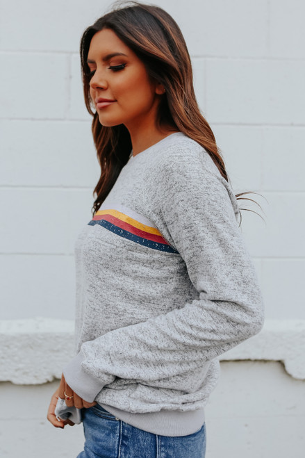 Rainbow Stripe Brushed Pullover