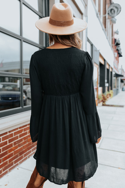 Square Neck Embroidered Black Dress