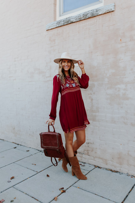 Autumn Floral Embroidered Dress