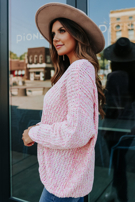 V-Neck Pink Chenille Sweater