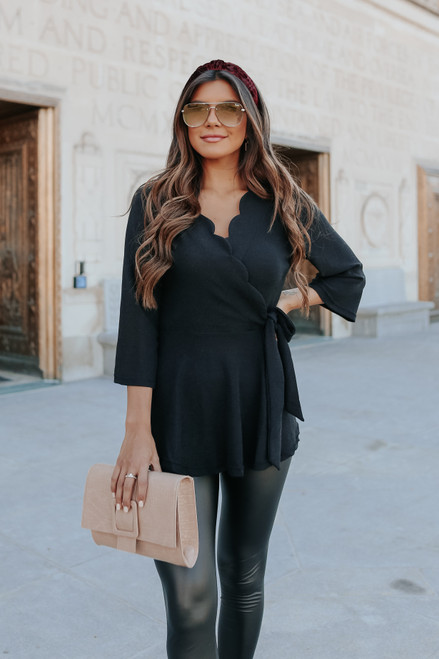 Faux Wrap Shimmer Scalloped Top