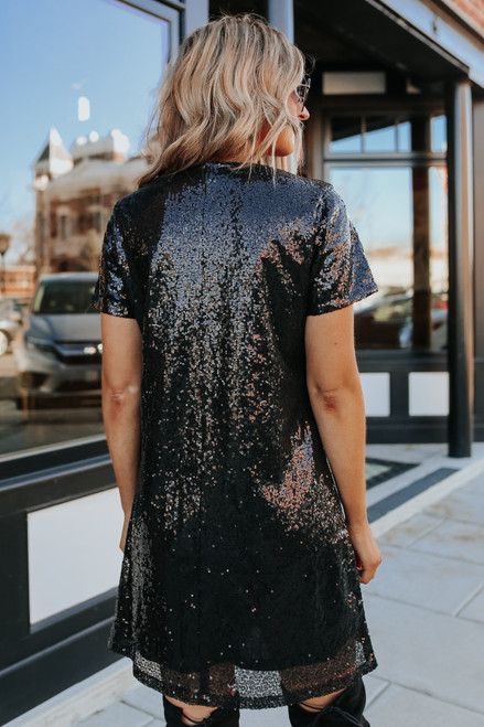 All Drama V-Neck Sequin Shift Dress