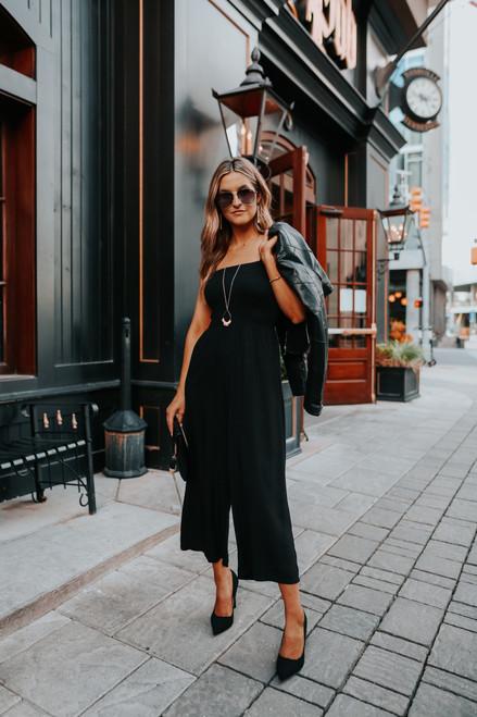 Smocked Black Cropped Jumpsuit
