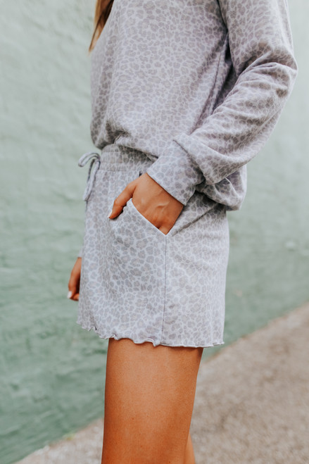 Smocked Waist Grey Leopard Shorts