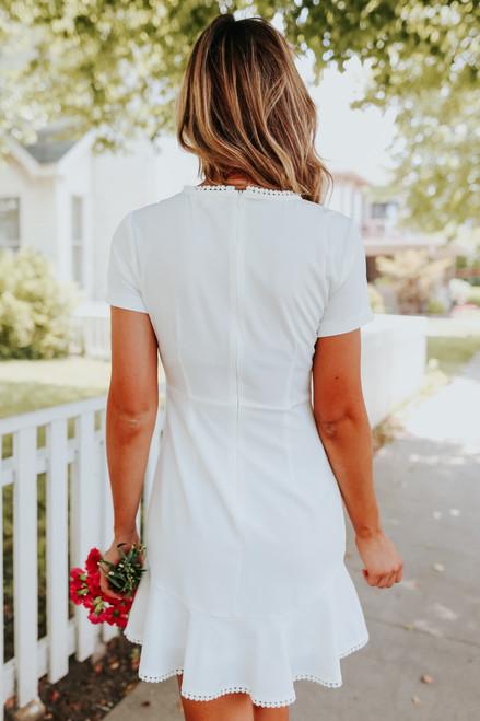Short Sleeve Ruffle Hem White Dress