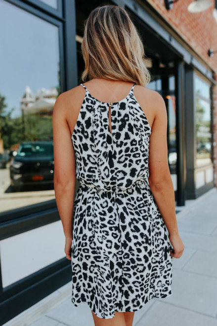 Everly Halter Neck Grey Leopard Dress