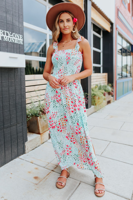 Everly Ruffle Strap Smocked Floral Maxi