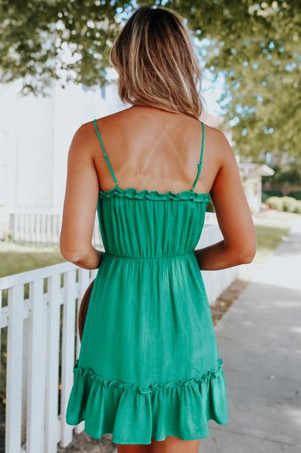 Frill Tiered Forest Green Mini Dress