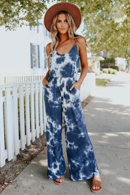 California Dreaming Tie Dye Knit Navy Jumpsuit