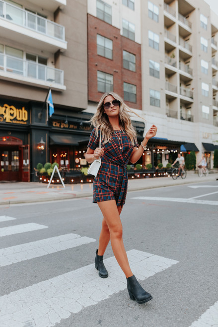 Everly Side Tie Teal Plaid Romper