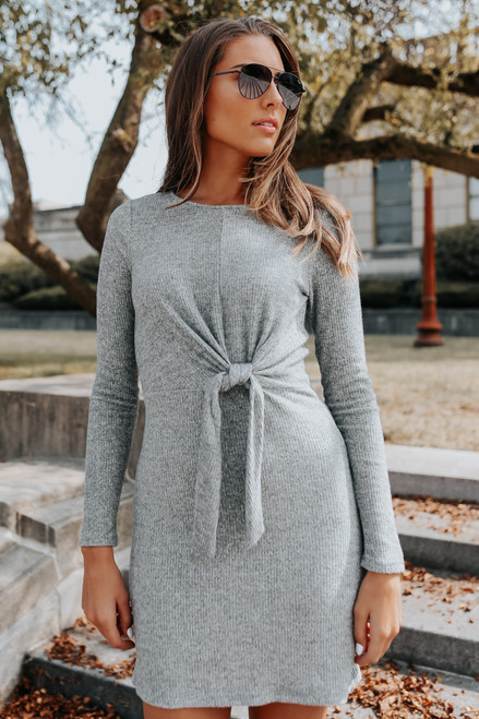 Everly Tie Front Brushed Ribbed Dress