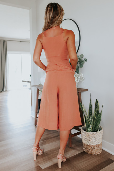 Everly V-Neck Rust Culotte Jumpsuit