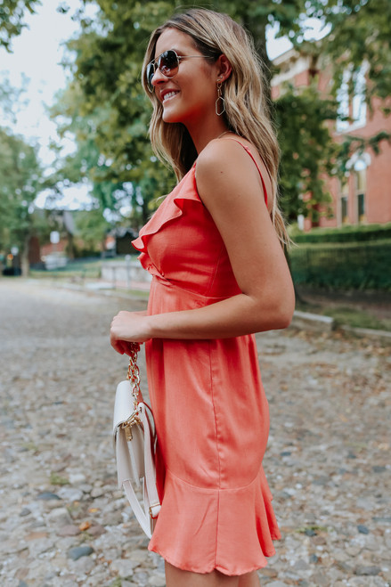 Everly Surplice Rust Ruffle Hem Dress
