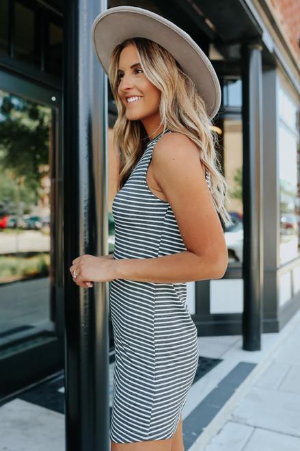 Everly Wren Charcoal Striped Dress