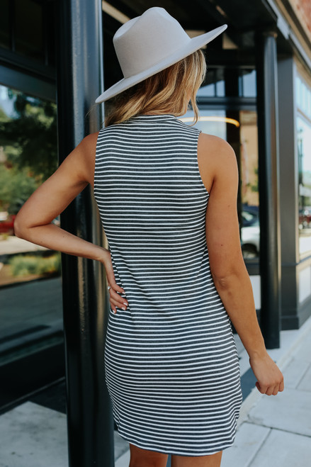 Everly Wren Charcoal Striped Dress