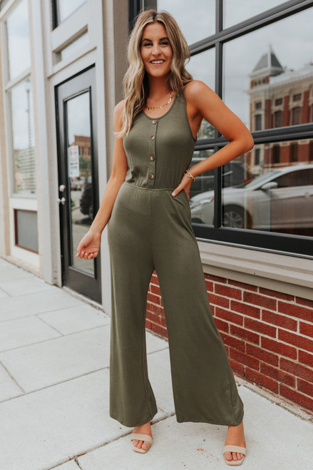 Everly Button Detail Olive Ribbed Jumpsuit