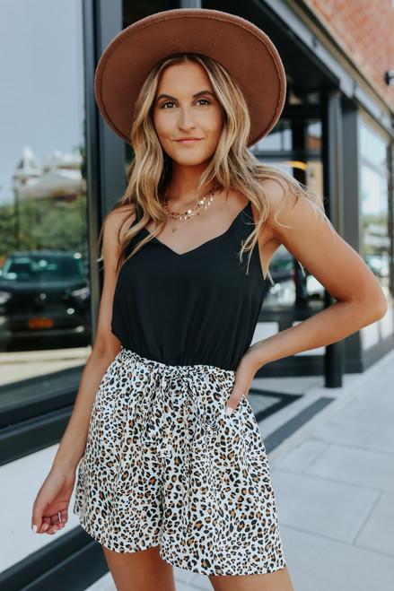 Everly Tie Waist Contrast Leopard Romper