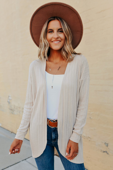 Textured Knit Taupe Cardigan