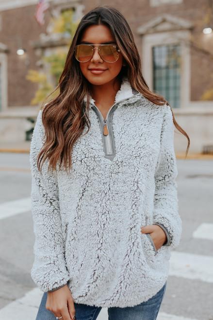 Two Tone Half Zip Grey Sherpa Pullover