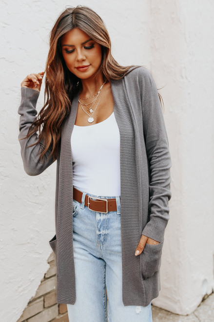 Down by the Bay Knit Charcoal Cardigan
