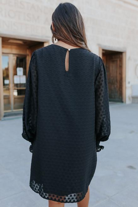 Moonlight Kiss Black Dotted Dress