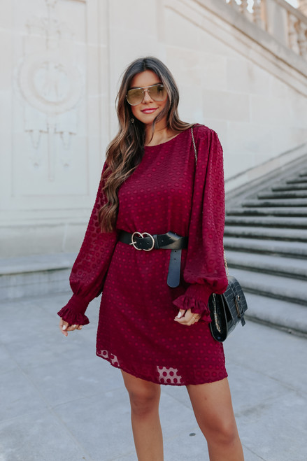 Moonlight Kiss Burgundy Dotted Dress