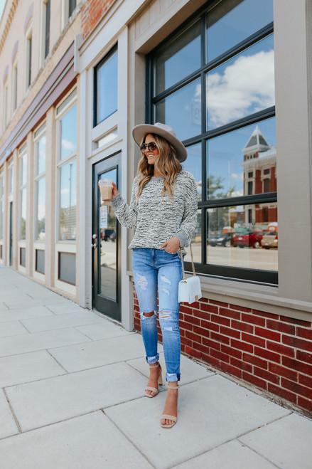 Cliffside Contrast Popcorn Sweater