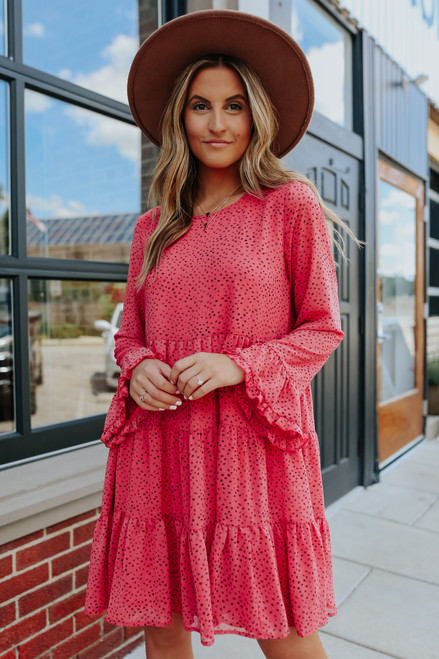 Ruffle Sleeve Tiered Berry Printed Dress