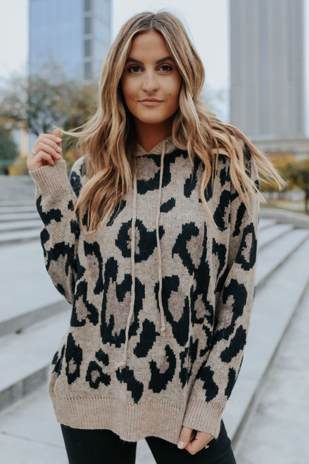 Drawstring Hooded Leopard Sweater