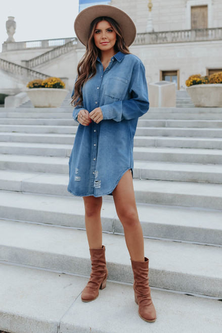 Downtown Date Distressed Denim Tunic