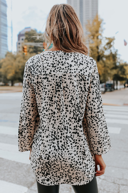V-Neck Leopard High Low Blouse