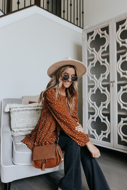 Toffee Kisses Dotted Tiered Top