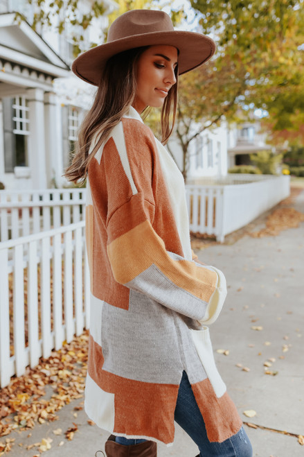 Draped Front Geometric Cardigan