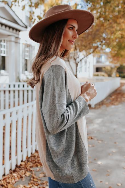 V-Neck Neutral Colorblock Sweater