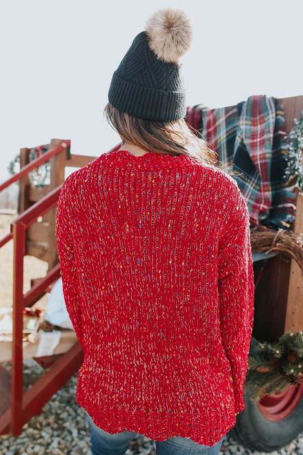 V-Neck Confetti Chenille Sweater