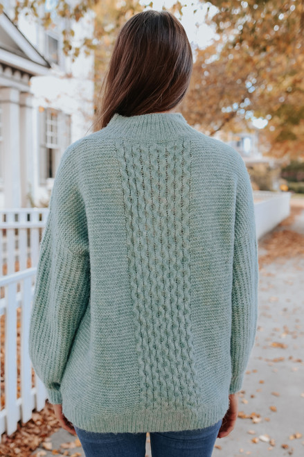 Mock Neck Cable Detail Sweater