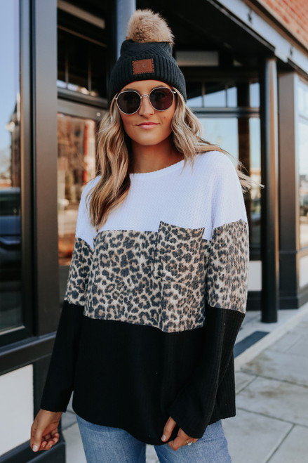 Leopard Colorblock Waffle Pullover
