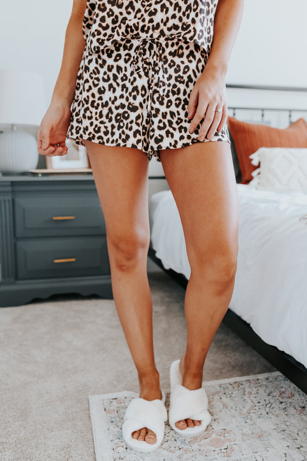 Coco Drawstring Leopard Satin Shorts
