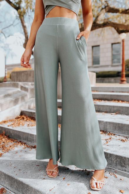 High Waist Ribbed Wide Leg Pants