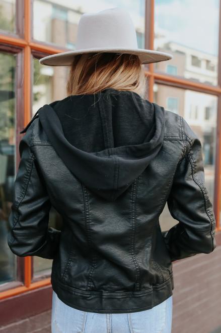 Hooded Sweatshirt Vegan Leather Black Jacket
