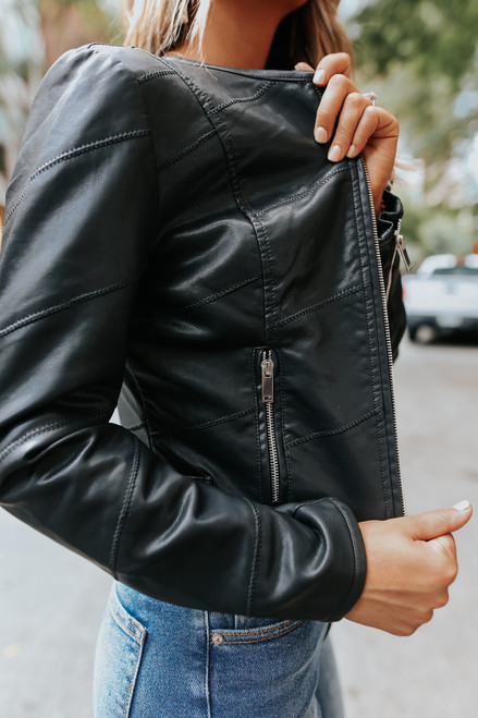 Raven Vegan Leather Black Panel Jacket