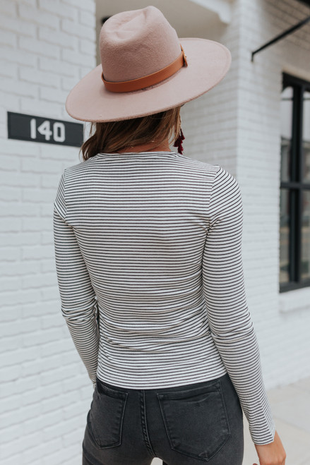 Amelia Long Sleeve Striped Ribbed Tee