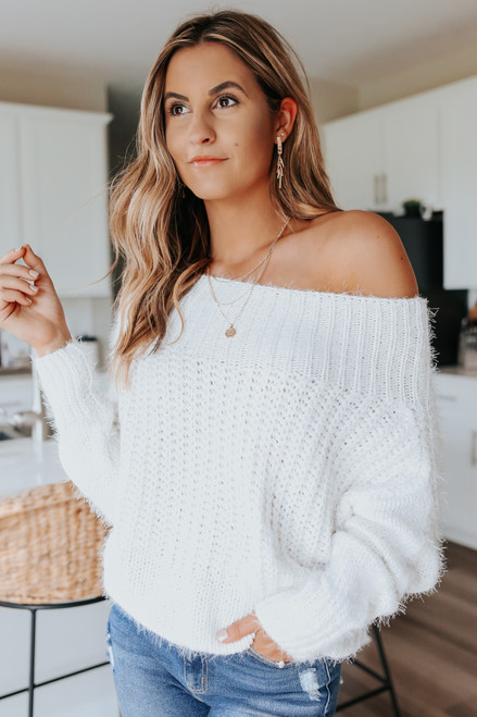 One Wish Boatneck White Eyelash Sweater