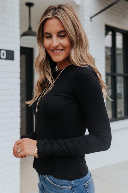 Amelia Long Sleeve Black Ribbed Tee