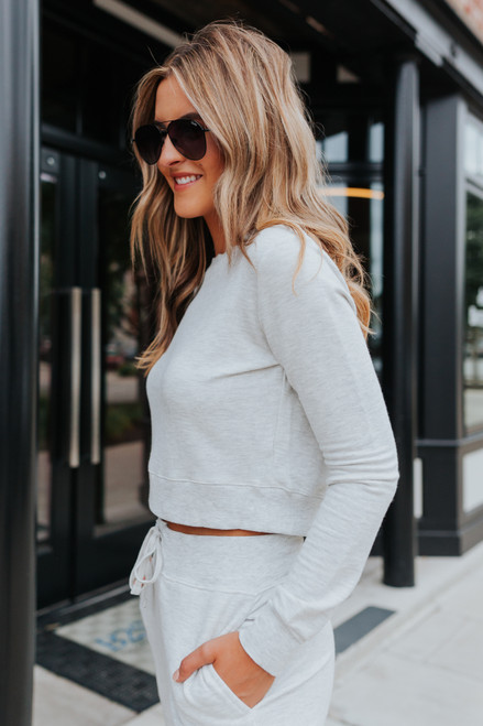 Crew Neck Grey Cropped Pullover
