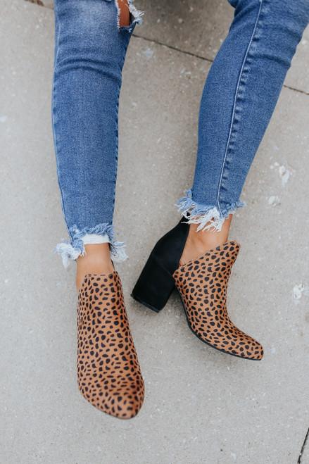 Faux Suede Contrast Cheetah Booties